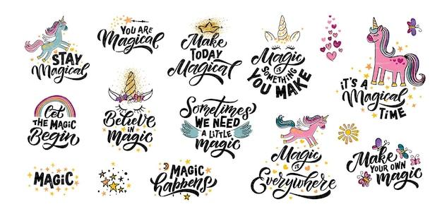 Hand geschetst magische vectorillustratie met belettering typografie citaten motiverende magische citaten