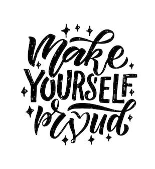 Hand geschetst vectorillustratie met belettering typografie citaat motiverende teken make yourself