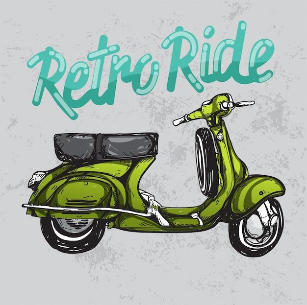 Hand geschetste scooter retro motorfiets klassieker