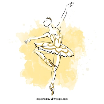 Hand geschilderde ballerina