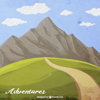 Hand geschilderde berg avontuur
