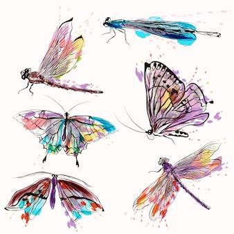 Hand geschilderde collectie insecten