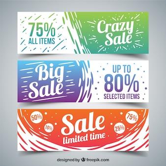 Hand geschilderde gekleurde grote verkoop banners