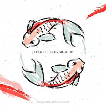Hand geschilderde japanse vissen achtergrond