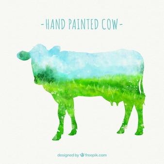 Hand geschilderde koe silhouet
