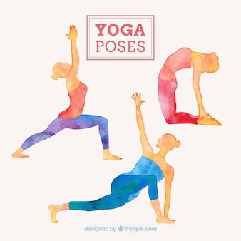Hand geschilderde vrouw doet yoga houdingen te stellen