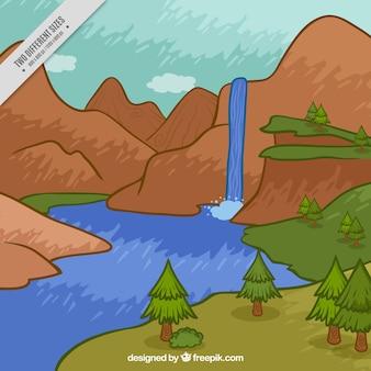 Hand geschilderde waterval onder bergen achtergrond