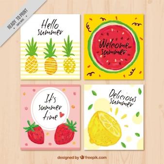 Hand geschilderde zomer kaarten