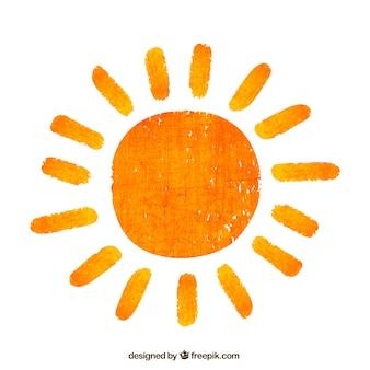 Hand geschilderde zon