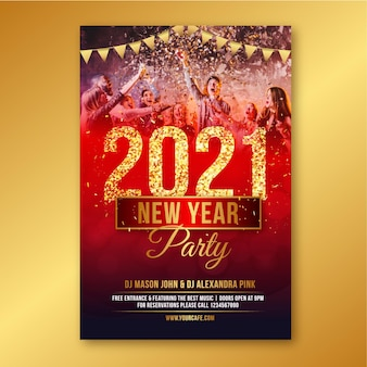 Hand getekend 2021 partij poster sjabloon