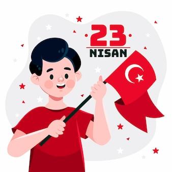 Hand getekend 23 nisan illustratie