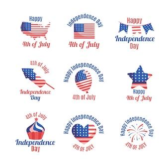 Hand getekend 4 juli - badges collectie van de onafhankelijkheidsdag