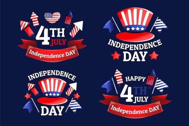 Hand getekend 4 juli - labelcollectie van de onafhankelijkheidsdag