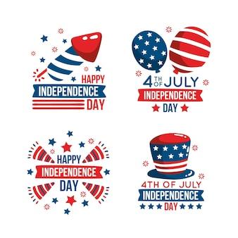 Hand getekend 4 juli onafhankelijkheidsdag badge-collectie