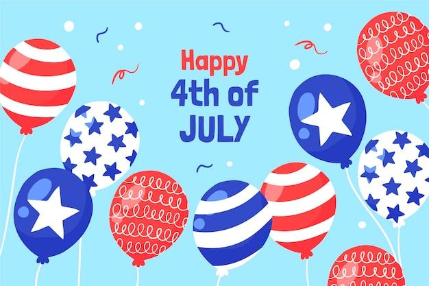 Hand getekend 4 juli onafhankelijkheidsdag ballonnen achtergrond