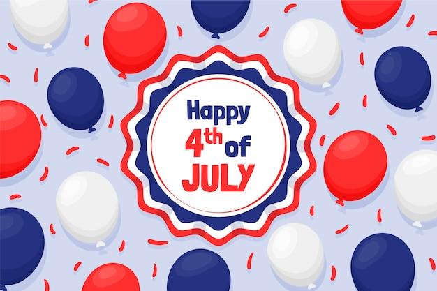 Hand getekend 4 juli - onafhankelijkheidsdag ballonnen achtergrond Gratis Vector