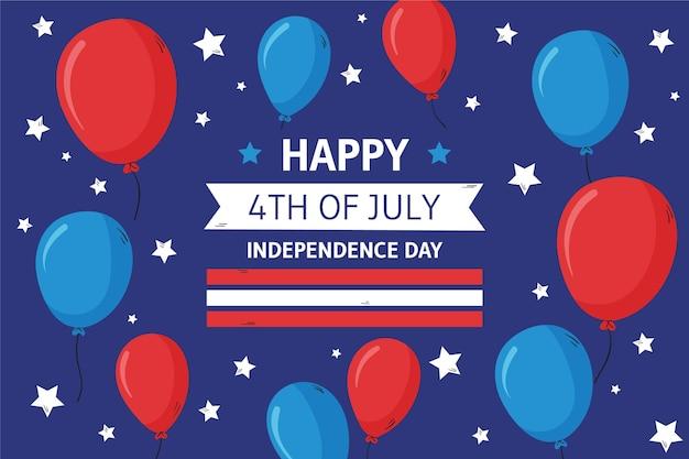 Hand getekend 4 juli - onafhankelijkheidsdag ballonnen achtergrond