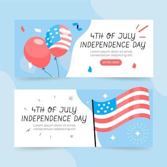 Hand getekend 4 juli - onafhankelijkheidsdag banners instellen