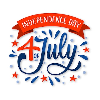 Hand getekend 4 juli - onafhankelijkheidsdag belettering