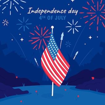 Hand getekend 4 juli onafhankelijkheidsdag illustratie