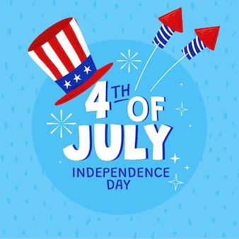 Hand getekend 4 juli - onafhankelijkheidsdag illustratie