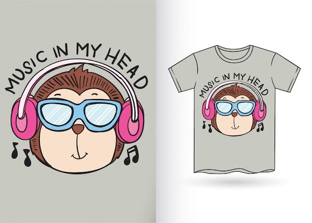 Hand getekend aap cartoon voor t-shirt