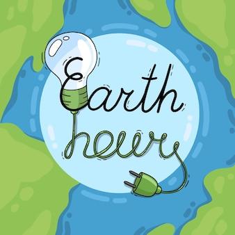 Hand getekend aarde uur met gloeilamp
