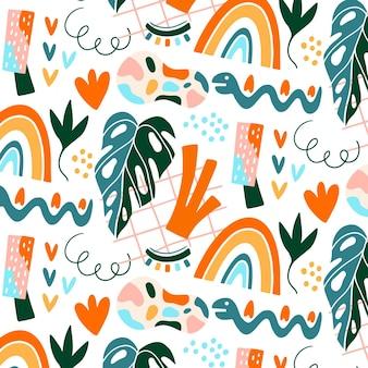 Hand getekend abstract elementen patroon