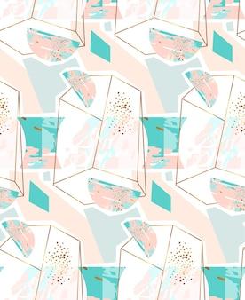 Hand getekend abstract geometrische naadloze patroon met terrarium van kristal