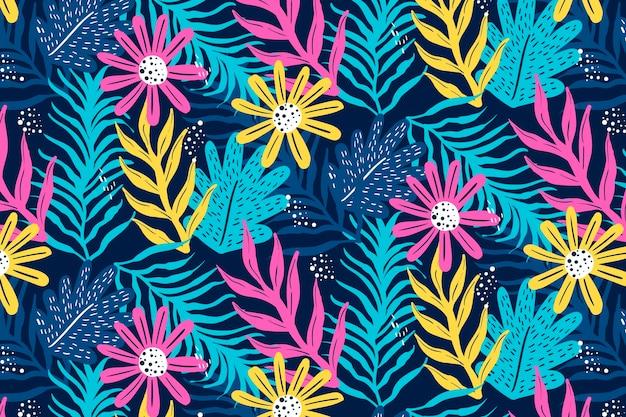 Hand getekend abstract patroon met planten
