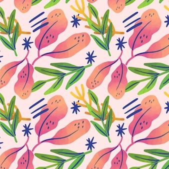 Hand getekend abstract plantenpatroon