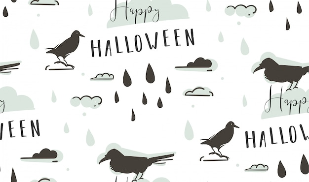 Hand getekend abstracte cartoon happy halloween illustraties naadloze patroon met raven, kraaien, druppels, wolken en moderne kalligrafie happy halloween op witte achtergrond.