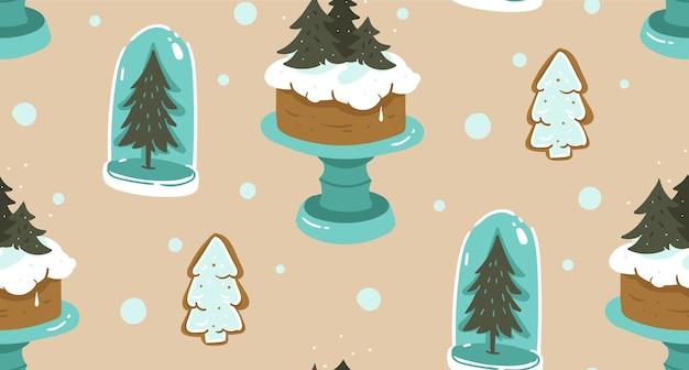 Hand getekend abstracte cartoon kerst naadloze patroon met scandinavische huisdecoratie elementen glazen bol, vakantie cake op standaard en peperkoek cookies geïsoleerd op ambachtelijke papier achtergrond.