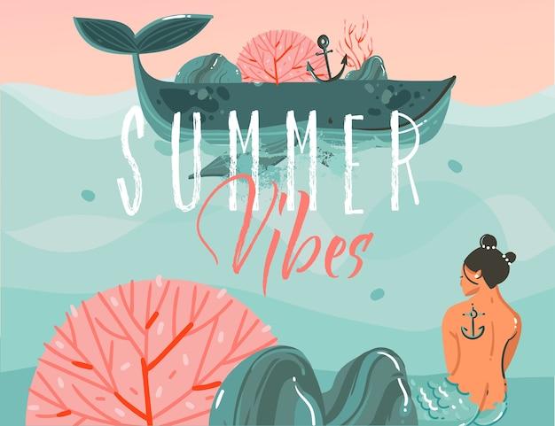 Hand getekend abstracte cartoon zomertijd grafische illustraties kunst achtergrond met oceaan strand landschap, grote walvis, zonsondergang scène en zeemeermin meisje