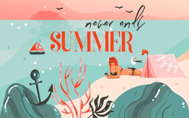 Hand getekend abstracte cartoon zomertijd grafische illustraties kunst achtergrond met oceaan strand landschap, roze zonsondergang, camping tent en meisje op strand scène en de zomer eindigt nooit typografie