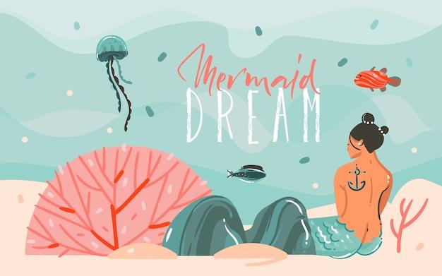 Hand getekend abstracte cartoon zomertijd grafische illustraties kunst scène achtergrond met oceaan, kwallen, schoonheid zeemeermin meisje geïsoleerd op blauwe watergolven.