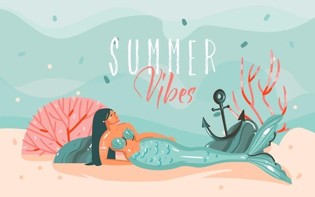 Hand getekend abstracte cartoon zomertijd grafische illustraties kunst sjabloon achtergrond met oceaanbodem, schoonheid zeemeermin meisje en geïsoleerd op blauwe watergolven.