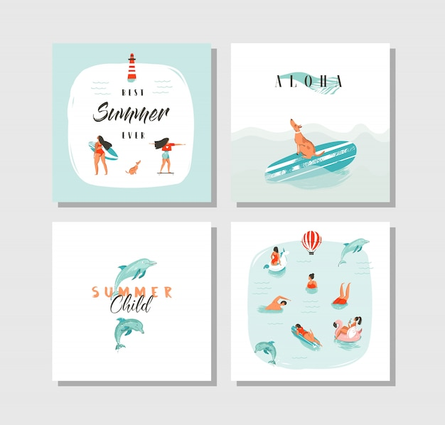 Hand getekend abstracte cartoon zomertijd leuke kaarten collectie set sjabloon met gelukkig zwemmen mensen in blauwe oceaanwater, hond op skateboard en typografie citaat op witte achtergrond.