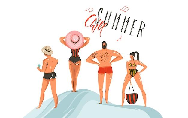 Hand getekend abstracte grafische cartoon zomertijd collectie illustraties instellen met jongens en meisje tekens op het strand met zomerse chill typografie tekst op witte achtergrond