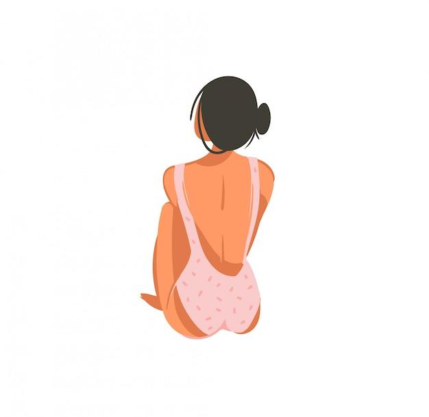Hand getekend abstracte grafische cartoon zomertijd illustraties met ontspannen meisje in roze bikini op witte achtergrond