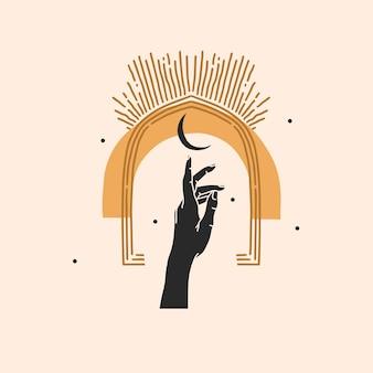 Hand getekend abstracte illustratie, magische lijntekeningen van halve maan, vrouwelijke hand