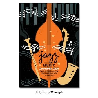 Hand getekend abstracte jazz poster sjabloon