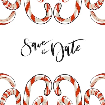 Hand getekend abstracte kerstgroet slaan de datum kaartsjabloon met zuurstokken geïsoleerd op een witte achtergrond.
