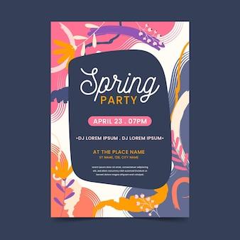Hand getekend abstracte lente partij folder sjabloon
