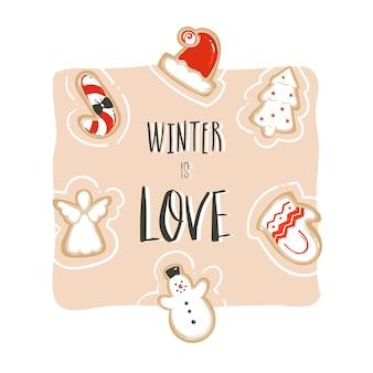 Hand getekend abstracte leuke merry christmas cartoon kaartsjabloon met leuke illustraties, peperkoekkoekjes en handgeschreven moderne kalligrafie winter is liefde geïsoleerd op een witte achtergrond.