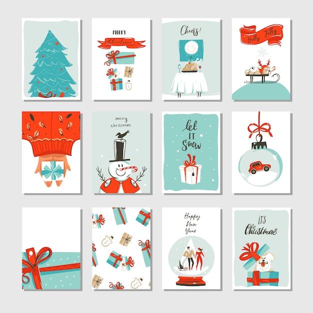 Hand getekend abstracte leuke merry christmas cartoon tijdkaarten collectie set met leuke illustraties geïsoleerd op wit