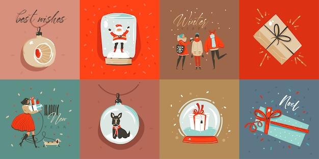 Hand getekend abstracte leuke merry christmas cartoon tijdkaarten collectie set met leuke illustraties, verrassingsgeschenkdozen, honden en handgeschreven moderne kalligrafie tekst op gekleurde achtergrond