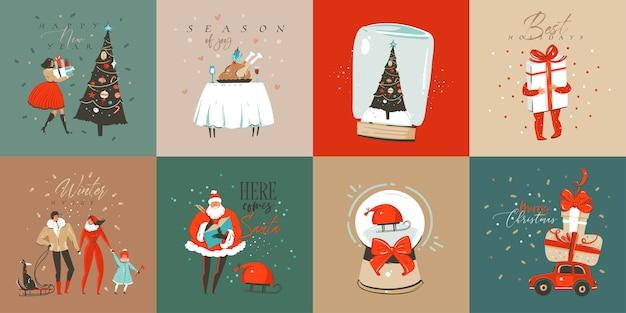 Hand getekend abstracte leuke merry christmas cartoon tijdkaarten collectie set met leuke illustraties, verrassingsgeschenkdozen, honden en handgeschreven moderne kalligrafie tekst op witte achtergrond.