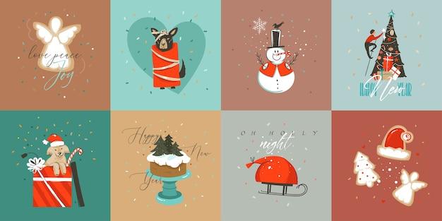 Hand getekend abstracte leuke merry christmas cartoon tijdkaarten collectie