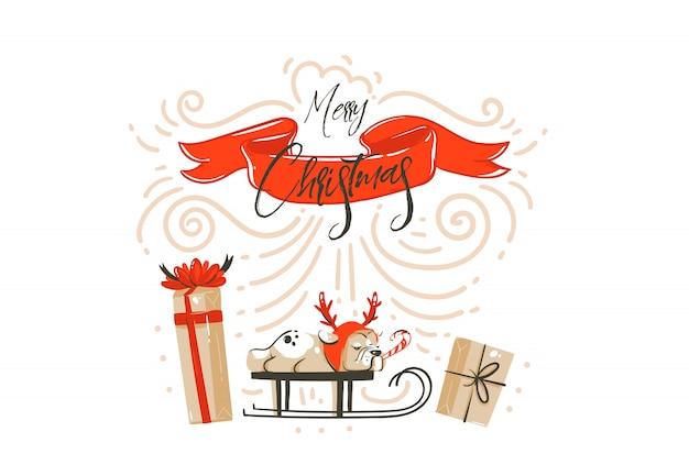Hand getekend abstracte leuke merry christmas tijd cartoon afbeelding kaart met verrassing geschenkdozen geïsoleerd op een witte achtergrond